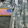 U.S. flag patch on the army uniform — Stock Photo