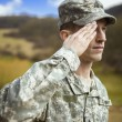 Saluting male army soldier — Stock Photo
