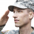 Saluting Army soldier isolated - Stock Photo