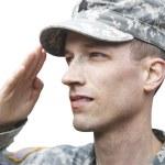 Salutieren Soldat isoliert — Stockfoto