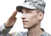 Saluting Army soldier isolated — Stock Photo