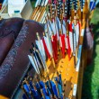 Arrows on sale on the medieval market — Stock Photo