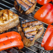 Tuna with vegetables on grill — Stock Photo #26401435
