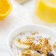Royalty-Free Stock Photo: Whole grain cereal and orange juice breakfast