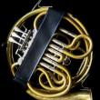 French horn in the case — Stock Photo