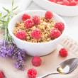 Fresh granola breakfast with raspberries and honey — Stock Photo