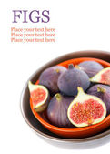 Bowl of figs isolated on white with place for text — Foto Stock