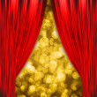 Stock Photo: Two red curtains opening the show