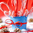 Stock Photo: Peppermint canes christmas background