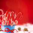 Stock Photo: Peppermint canes christmas background with room for text