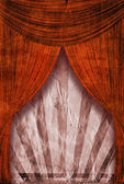 Fondo de cartel de rayo de sol retro revival detrás de cortinas rojas — Foto de Stock