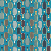 Seamless vector alcohol bottles pattern on blue — Stock Vector