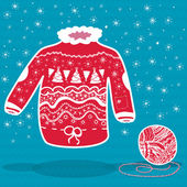 Red knitted christmas sweater and a ball of yarn — Stock Vector