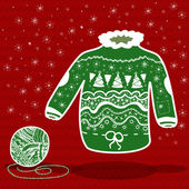 Green knitted christmas sweater and a ball of yarn — Stock Vector