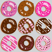 Set of 9 assorted doughnut icons with different toppings — Stock Vector