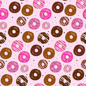 Seamless vector pattern of assorted doughnuts with different top — Stock Vector