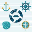 Set of 5 nautical illustrations — Stock Vector