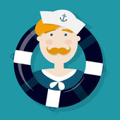 Cute ginger sailor cartoon character in a lifebuoy — Vetorial Stock