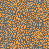 Seamless splattered fireworks pattern in orange and grey — Stock Vector