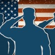 Three US Army soldiers saluting on grunge american flag backgrou — Stok Vektör