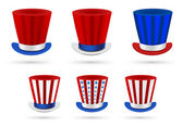 Six independence day hats set in different color combinations — Stock Vector