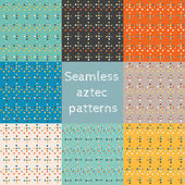 Set of 8 seamless ethnic aztec patterns — Stock Vector