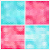 Happy abstract aquamarine and pink geometric backgrounds  — Stock Vector