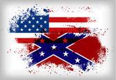 Confederate flag vs. Union flag. Civil war concept — Stockvektor