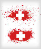 Grunge  ink splattered flag of Switzerland vectors — Stock Vector