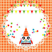 Birthday party card with cute owl — Stock Vector