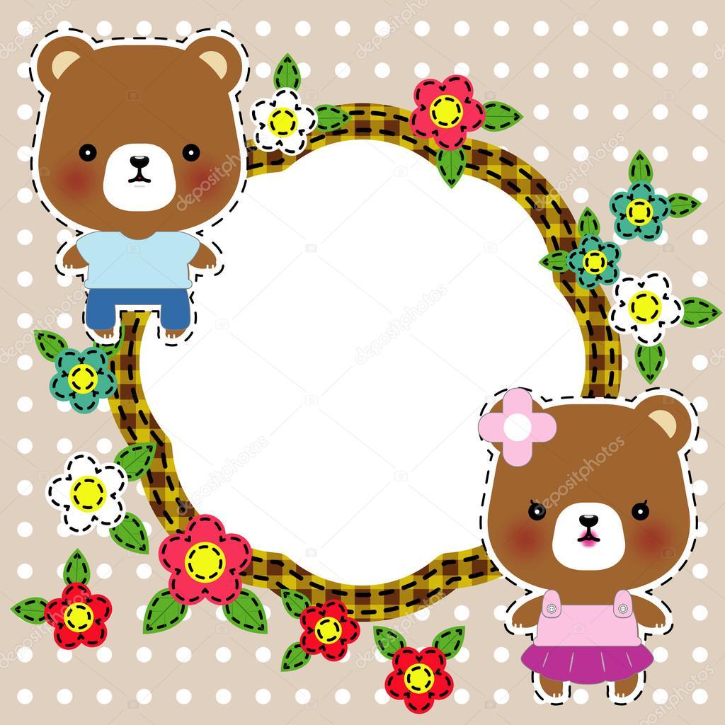 可爱的玩具熊的卡通插图