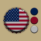 Bottle cap with a country sign United States of America — Stock Vector