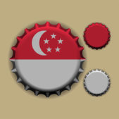 Bottle cap with a country sign Singapore — Stock Vector