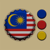 Bottle cap with a country sign Malaysia — Stock Vector