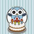Funny owl with birthday cake — Stock Vector