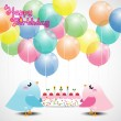 Birthday card with cute birds — Stock Vector