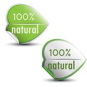 100 porcentagem natural adesivos — Vetor de Stock