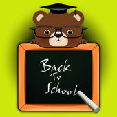 Funny bear around a blackboard — Stock Vector