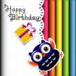 Happy owl birthday party invitation card  — Stock Vector