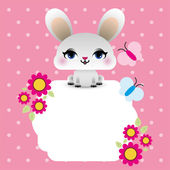 Easter bunny with floral frame — Stock Vector