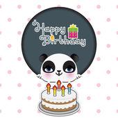 Cute panda birthday card — Stock Vector