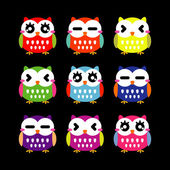 Cute owls set — Vector de stock
