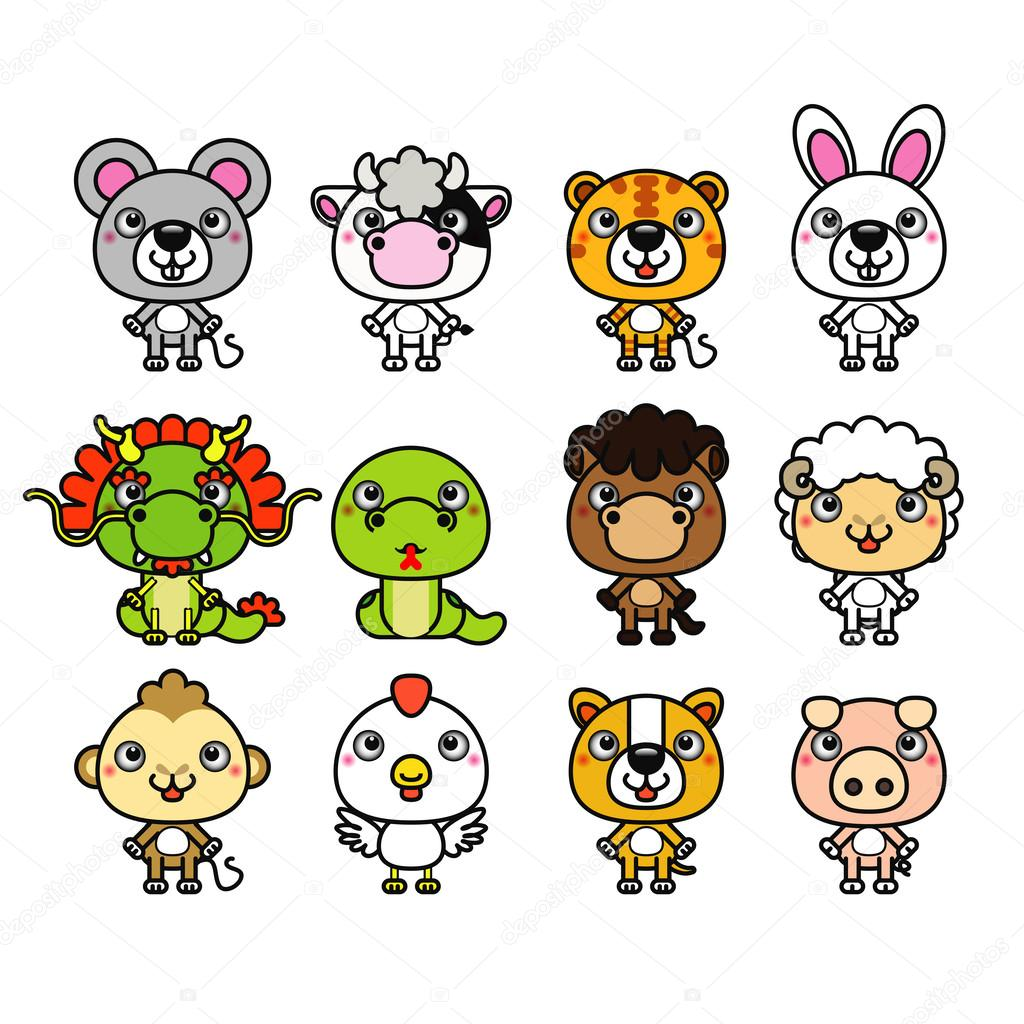 12 Chinese Zodiac animals — Stock Vector © laiaiksoon #43080347