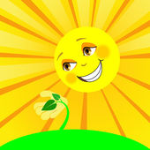The sun and the young plant — Stock Vector