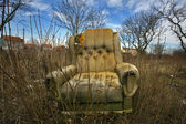 An old armchair in the nature — Stok fotoğraf