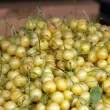 Fresh white cherries natura whitel cherry to background on the street market — Stok fotoğraf