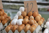 Eggs at the street market with a price — Stock Photo