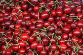 Fresh cherries natural cherry to background on the street market — Stock Photo