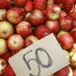 Fresh natural apples on the street market — Stock Photo