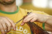 Closeup of hairdresser cutting hair — Stock Photo
